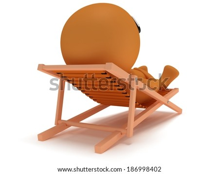 3d man having a rest on chaise lounge isolated on white background. Summer, recreation, travel, vacation concept