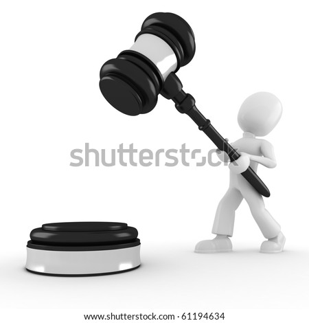 3d man holding a big gavel, isolated on white - stock photo