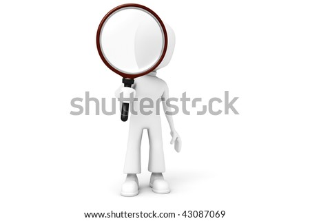 3d man holding a BIG magnifier glass :) - stock photo
