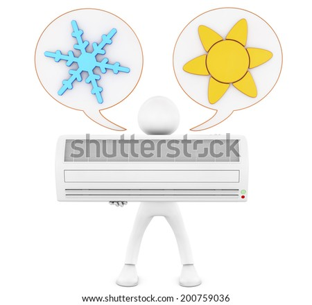 3d man holding a conditioner. Isolated render on a white background and air conditioning icon  - stock photo