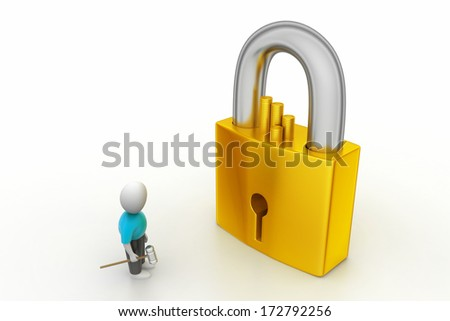 3D man holding a   key and padlock - stock photo