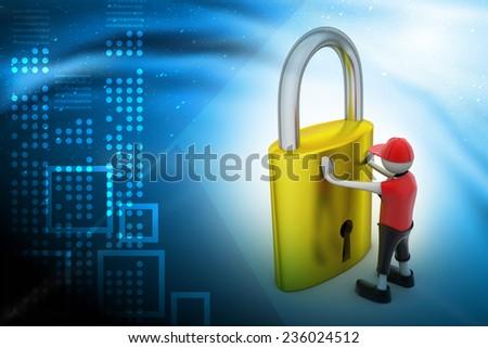 3D man holding a padlock - stock photo