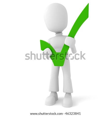 3d man holding a positive sign - stock photo