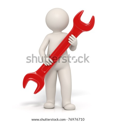 3d man holding a red spanner representing customer service - Isolated render - stock photo