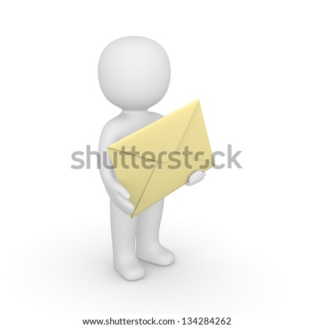 3d man holding big envelope. Computer generated image. - stock photo