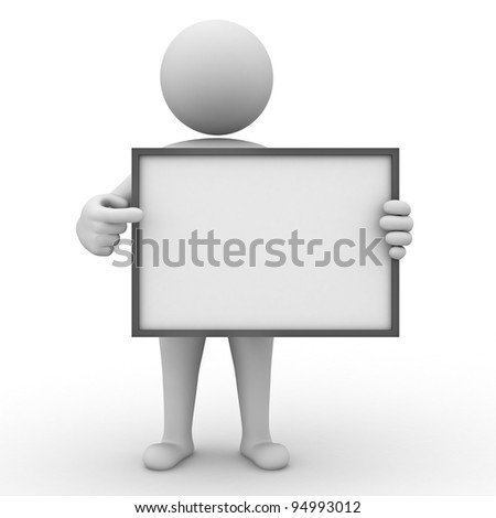 3d man holding blank board and pointing at it on white background
