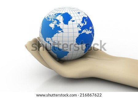 3d man holding earth