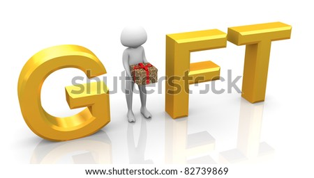 3d man holding gift box, standing in between text 'gift' - stock photo