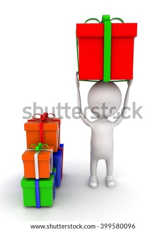 3d man holding gift on head and with many other gifts concept on white background - 3d rendering , front angle view - stock photo
