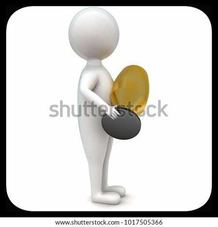 3d man holding golden cup in hands concept in white isolated background - 3d rendering ,  side angle view