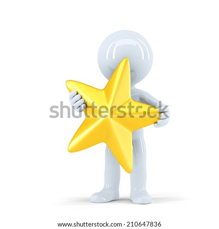 3d man holding golden star. Isolated on white. Contains clipping path - stock photo