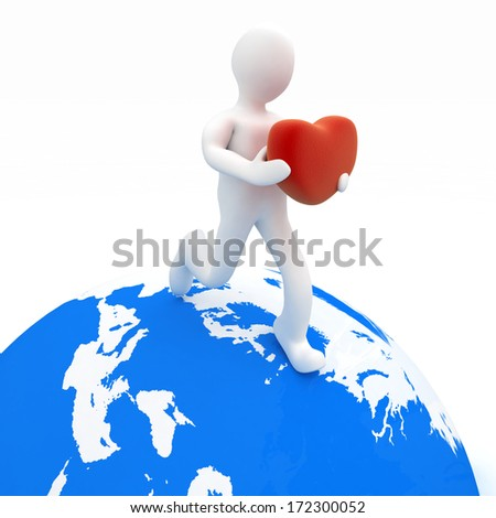 3d man holding heart in his hands and running on the globe - stock photo