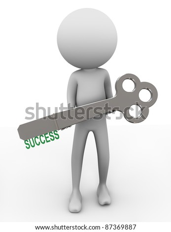 3d man holding key with word 'success'