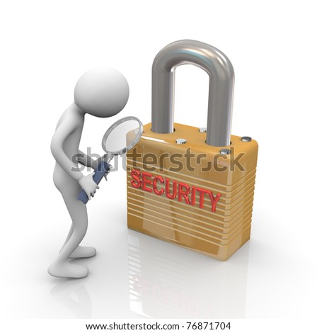 3d man holding magnifying glass and inspecting security measurement - stock photo
