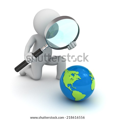 3d man holding magnifying glass and looking at blue globe map isolated over white background - stock photo
