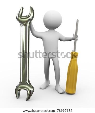 3d man holding screw driver and wrench. Concept of repair and maintenance. - stock photo