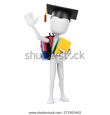 3d man holding some books, education concept - stock photo