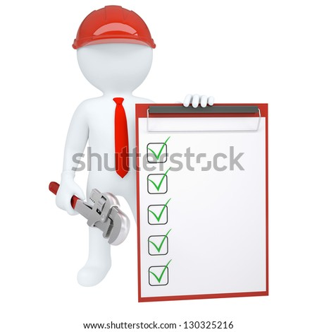 3d man holding wrench and paper holder. Isolated render on a white background - stock photo