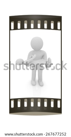 3d man holds a baby on hands. The film strip - stock photo
