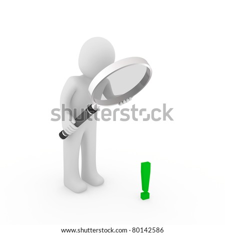 3d man human loupe glass exclamation mark green - stock photo