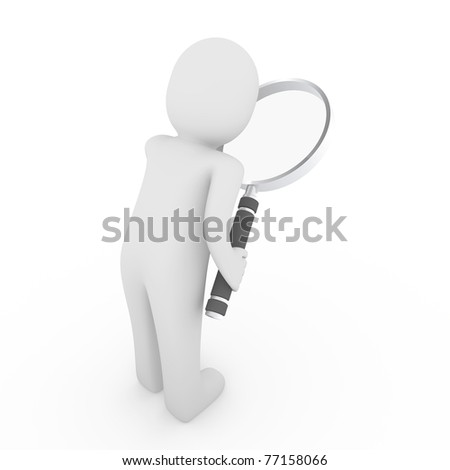 3d man human loupe search focus web business - stock photo