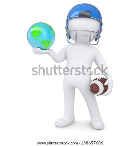 3d man in a football helmet holds the earth. Isolated render on a white background