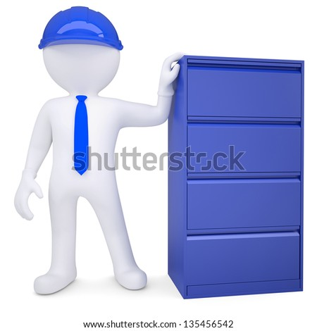 3d man in a hard hat next to a metal cabinet. Isolated render on a white background - stock photo