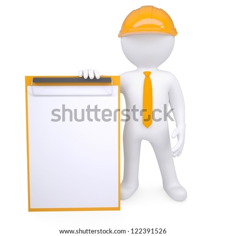 3d man in a helmet holding a clipboard. Isolated render on a white background