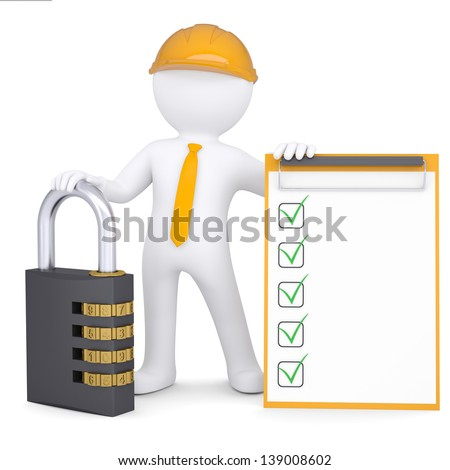 3d man in a helmet with the combination lock and checklist. Isolated render on a white background