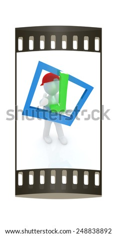 3d man in a red peaked cap with thumb up and a huge tick on a white background. The film strip - stock photo