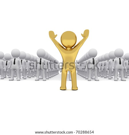 3D man in front of crowd of white 3D fellows - stock photo