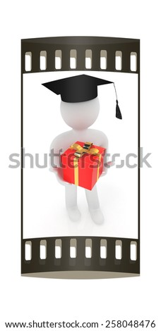 3d man in graduation hat with gift. The film strip - stock photo