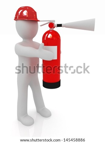 3d man in hardhat with red fire extinguisher - stock photo