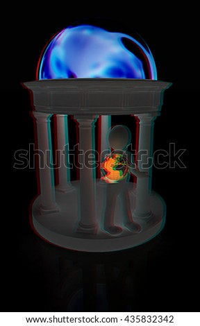 3d man in rotunda with earth on a black background. 3D illustration. Anaglyph. View with red/cyan glasses to see in 3D. - stock photo