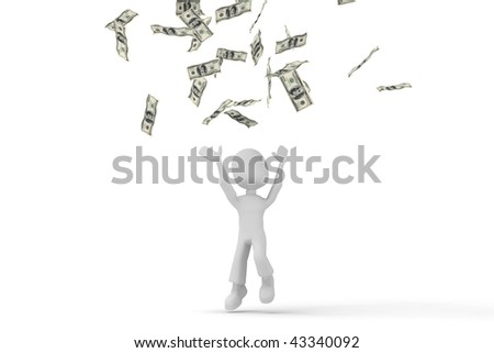3d man in the money rain