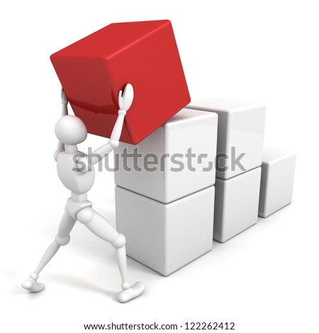 3d man is building success business chart of blocks