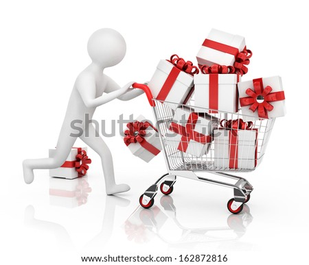 3d man is running with gift boxes in shopping cart - stock photo