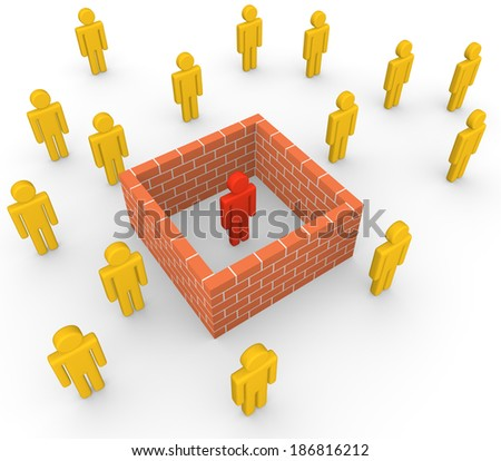 3d man isolated from society by the brick wall - stock photo