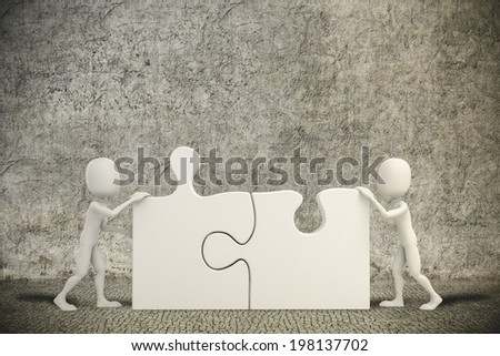 3d man joining two puzzle pieces - stock photo