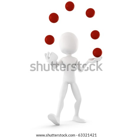3d man jongleur, entertaining the crowd - stock photo