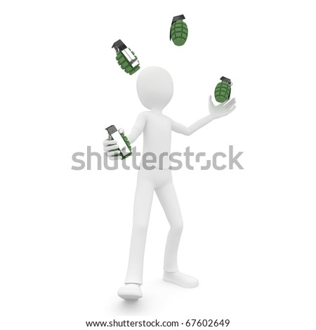 3d man jongleur with grenades isolated on white - stock photo