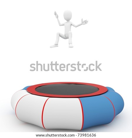 3d man jumping on  blue trampoline - stock photo