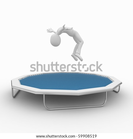 3d man jumping with blue trampoline - stock photo