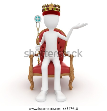 3d man king on the throne isolated on white - stock photo