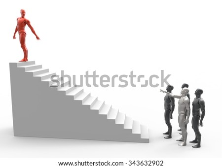 3D man leader achieves success. Stairs career growth. 3D render with white background.