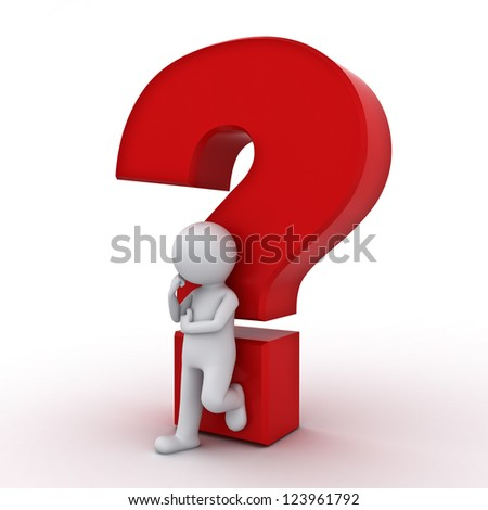 3d man leaning against red question mark and thinking over white background - stock photo