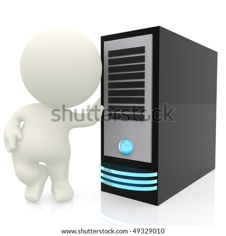 3D man leaning on a computer server isolated over a white background - stock photo