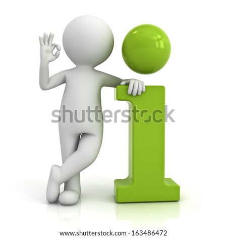 3d man leaning on green information icon and showing okay hand gesture isolated over white background with reflection