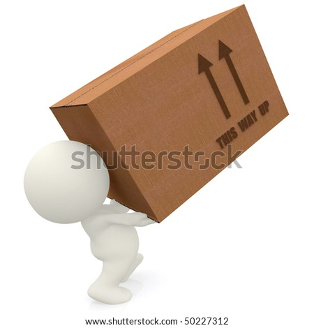 3D man lifting cardboard box isolated over white - stock photo