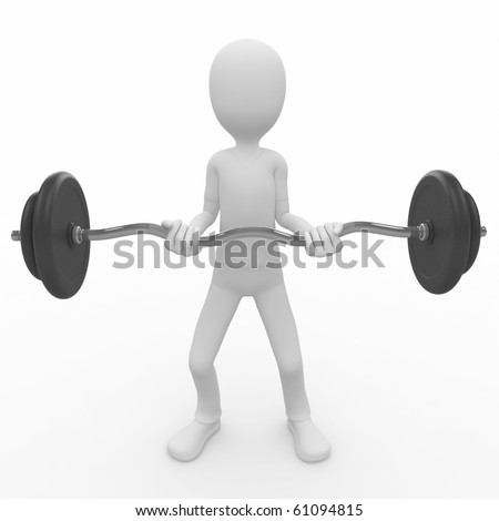 3d man lifting heavy barbell isolated on white